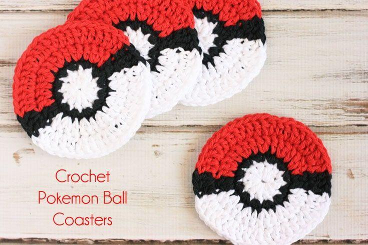 Crochet Pokemon Ball Coaster Pattern | Pinterest
