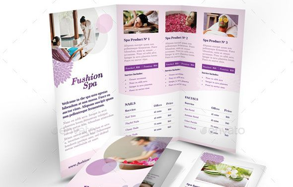spa-trifold-a4-brochure-template Brochures Pinterest - spa brochure