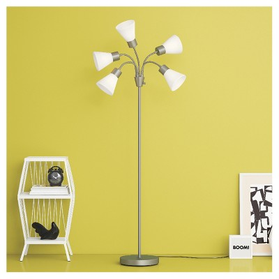 5 Head Floor Lamp White Shade With Silver Frame Lamp Only Room