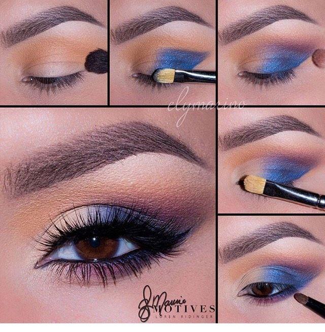 Imagen de maquillaje de ojos medio azul.  – Maquillaje