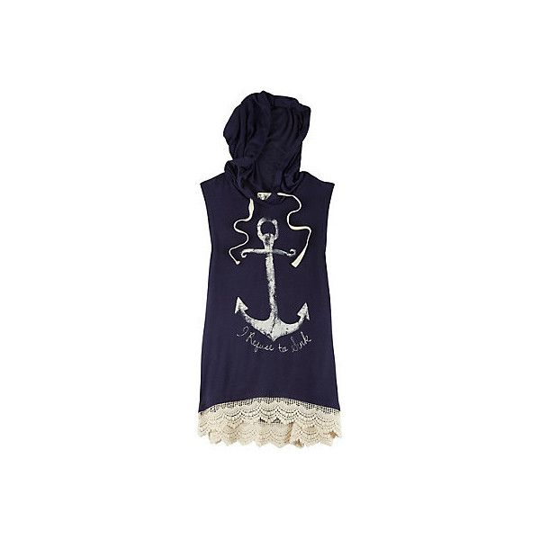La Mamba Juniors Anchor Print Hoodie Tank Top (€15) ❤ liked on Polyvore featuring tops, blue top, anchor top, blue tank, anchor print top and blue tank top