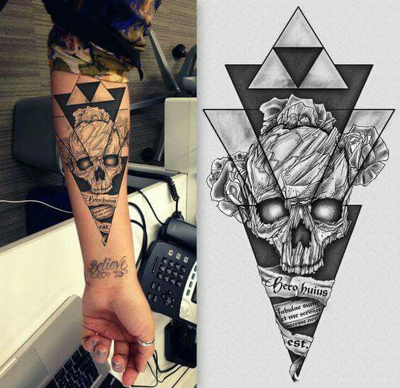 Tatoo Tatouage Tete De Mort Avant Bras Triangle Tattoo