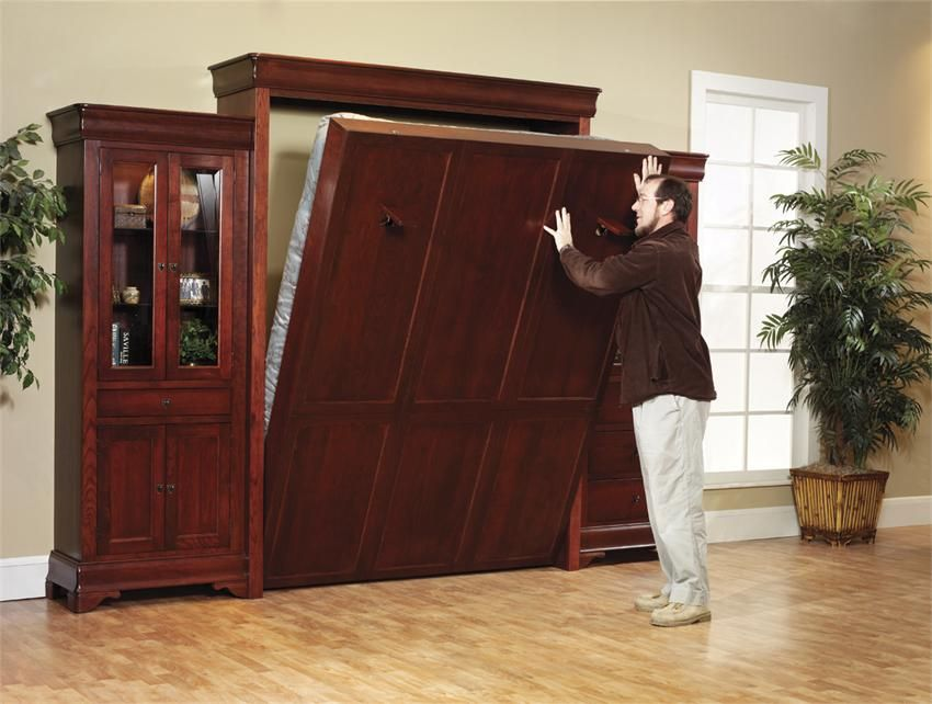 Hideaway Bed Part - 38: Louis Philippe Solid Wood Murphy Wall Bed