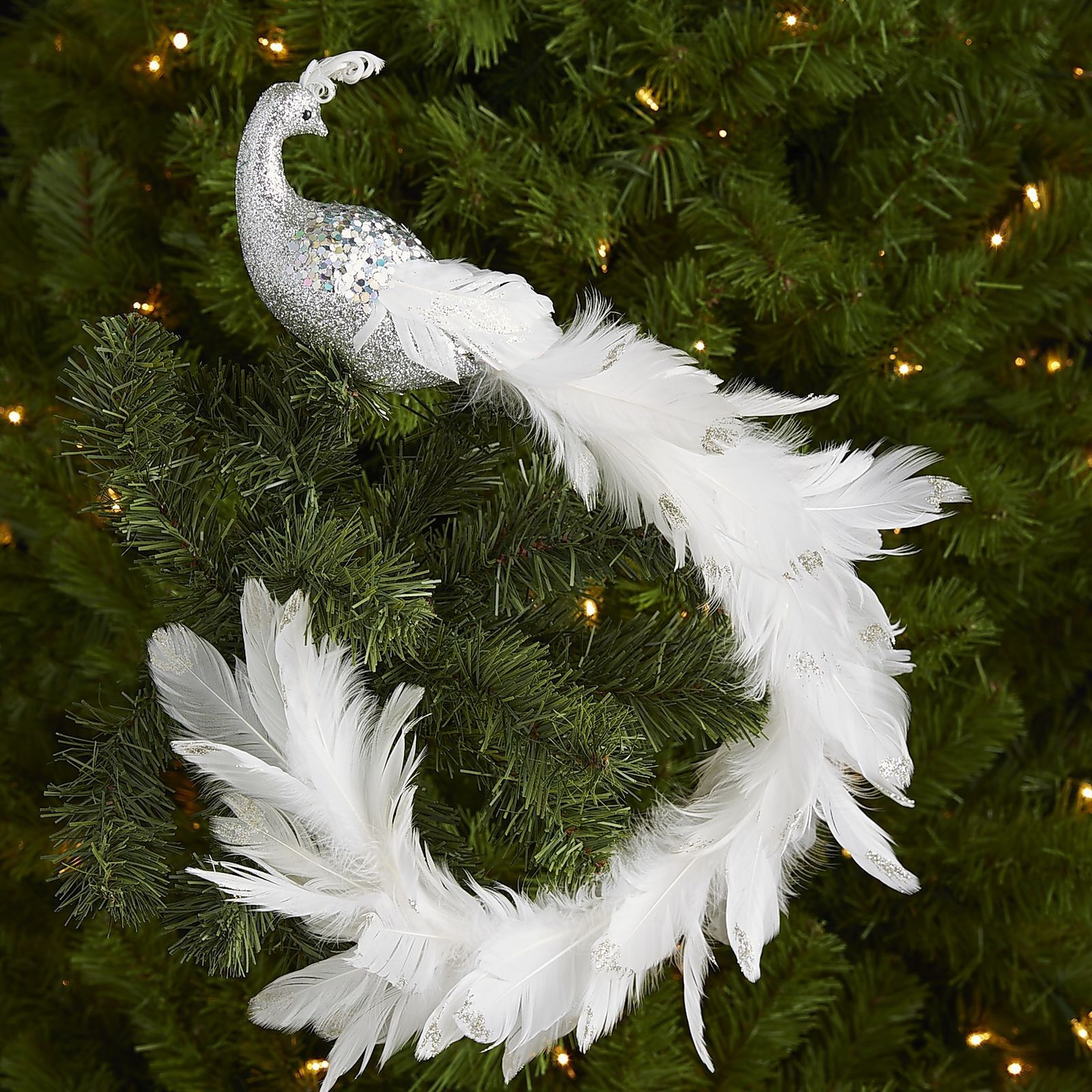 Longtail Peacock Clip Ornament  White & Silver  Pier 1 Imports