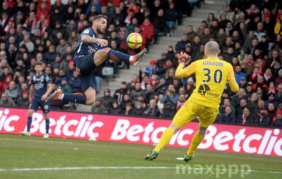 Match Ligue 1 NIMES contre MHSC BUT de DELORT ©PHOTOPQR/LE
