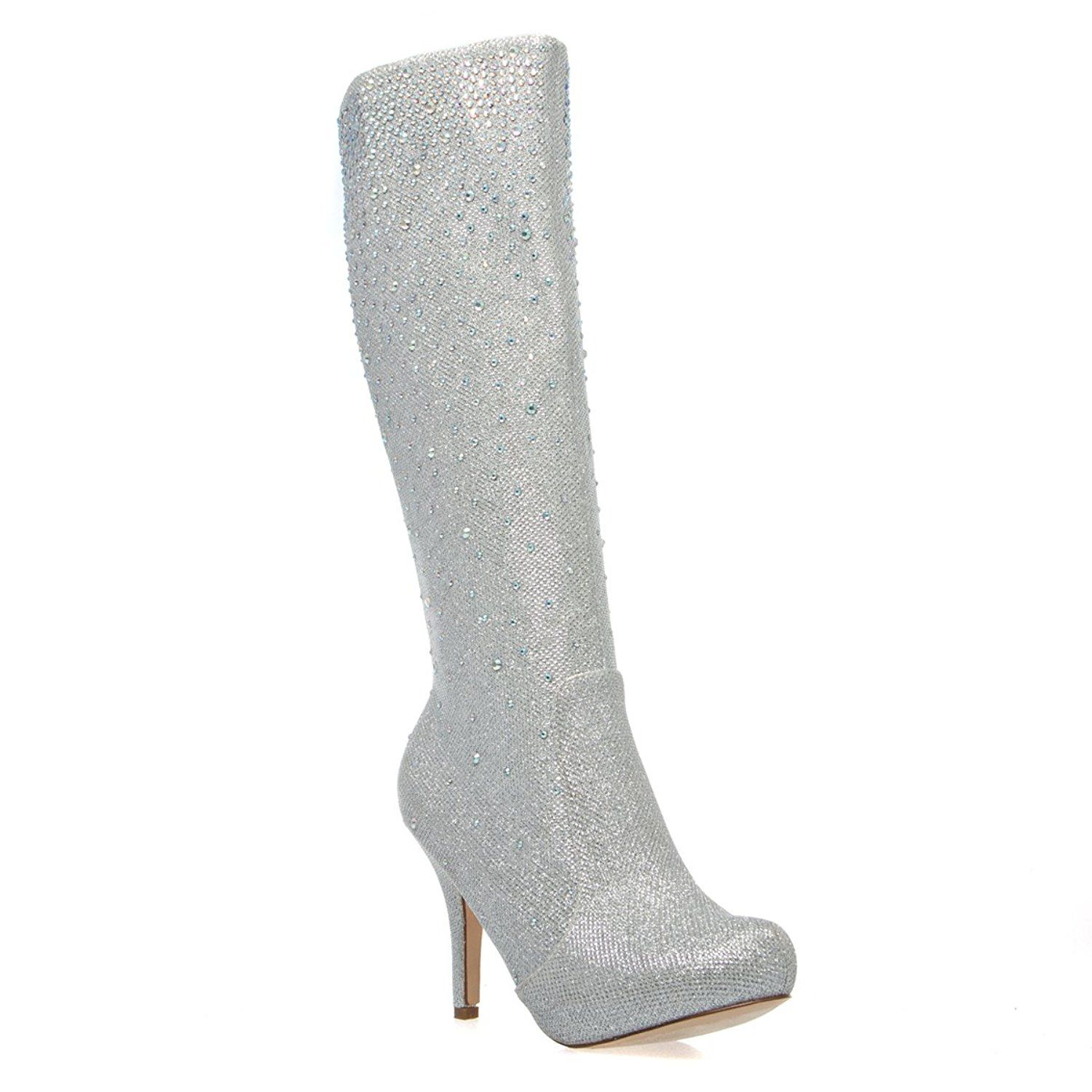 Womens 23-ROBIN98 Closed Toe Rhinestone Knee High Stiletto Heel Platform Boot Shoes Silver Glitter