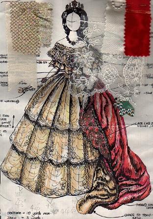 Rossetti Costumes Bridal Gowns Ivory Lace Victorian Court Dress 2020 Bohem Modasi Kostum Moda Cizimleri