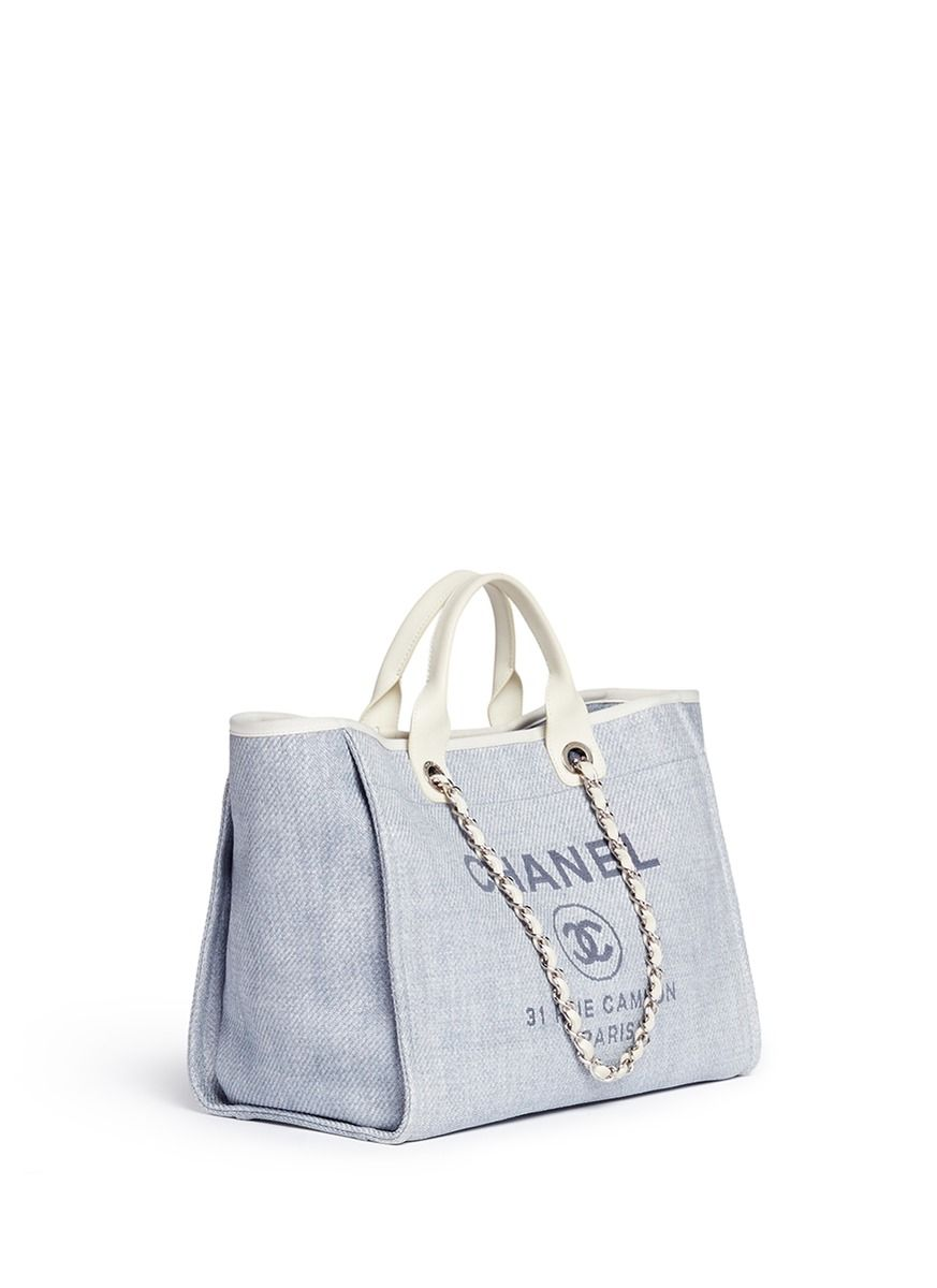 bf4e67e17ed WHAT GOES AROUND COMES AROUND - Vintage Chanel Deauville large woven raffia  tote   Blue Totes   Womenswear   Lane Crawford - Shop Designer Brands Online
