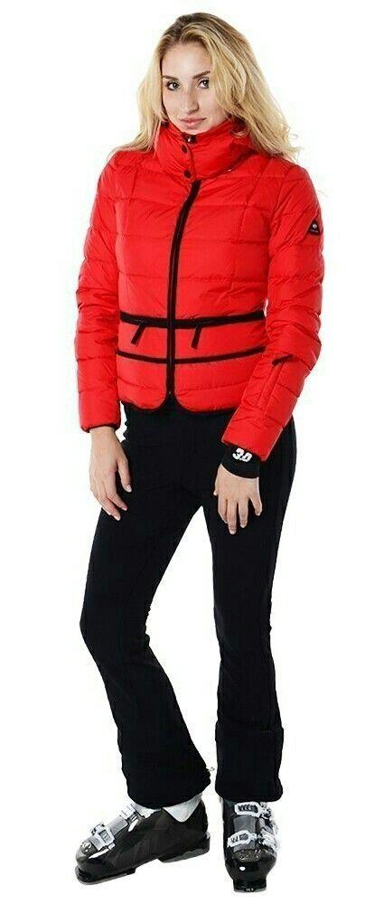 Chic Fiery Red Women S Bogner Bomber Ski Jacket Black Ski Pants Black Ski Jacket Ski Pants Ski Jacket