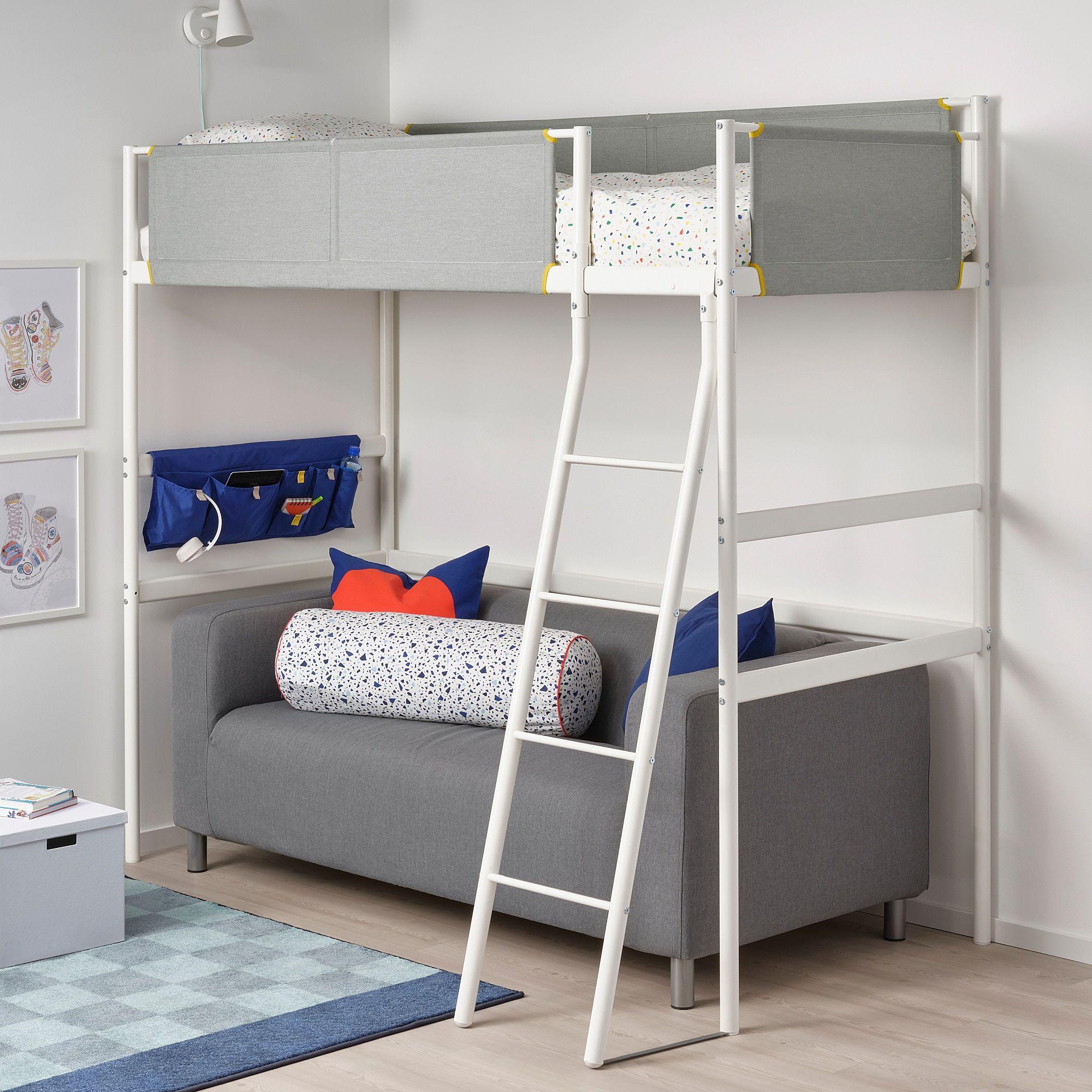 IKEA VITVAL Loft bed frame white/light gray in 2020