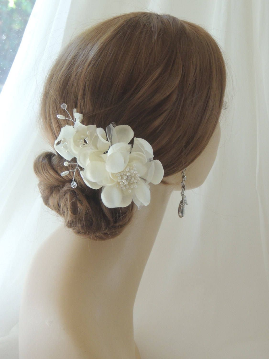 Coiffure Mariage Gros Chignon Silk Bridal Headpiece Bridal Hair Flower Comb Wedding
