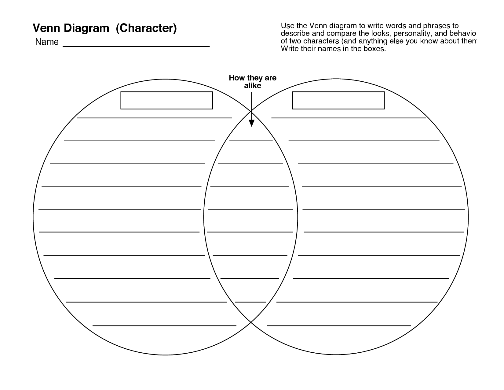 25 awesome compare contrast template venn diagram for Compare and contrast graphic organizer template