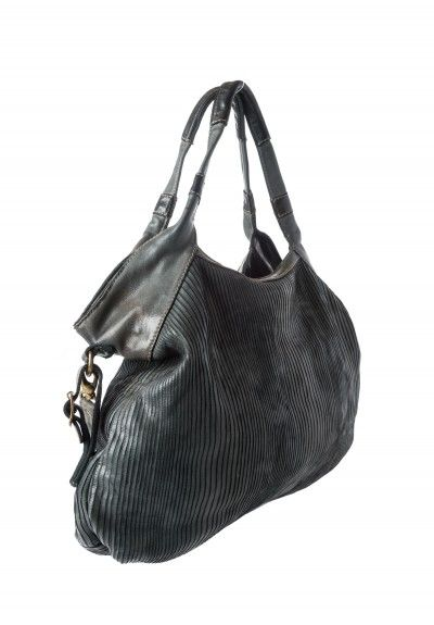 Reptiles House Scored Leather Hobo Bag in Grey