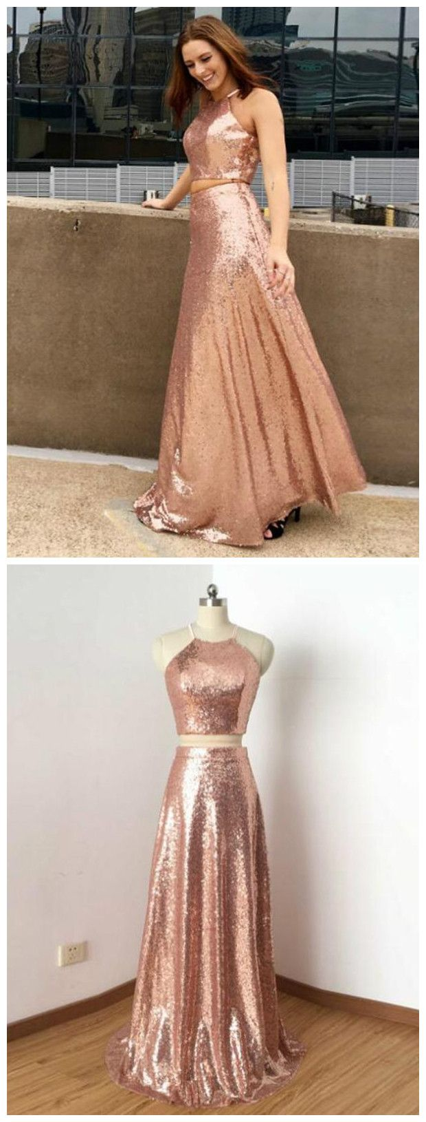 Two pieces prom dresses pink sequins spaghetti straps long prom