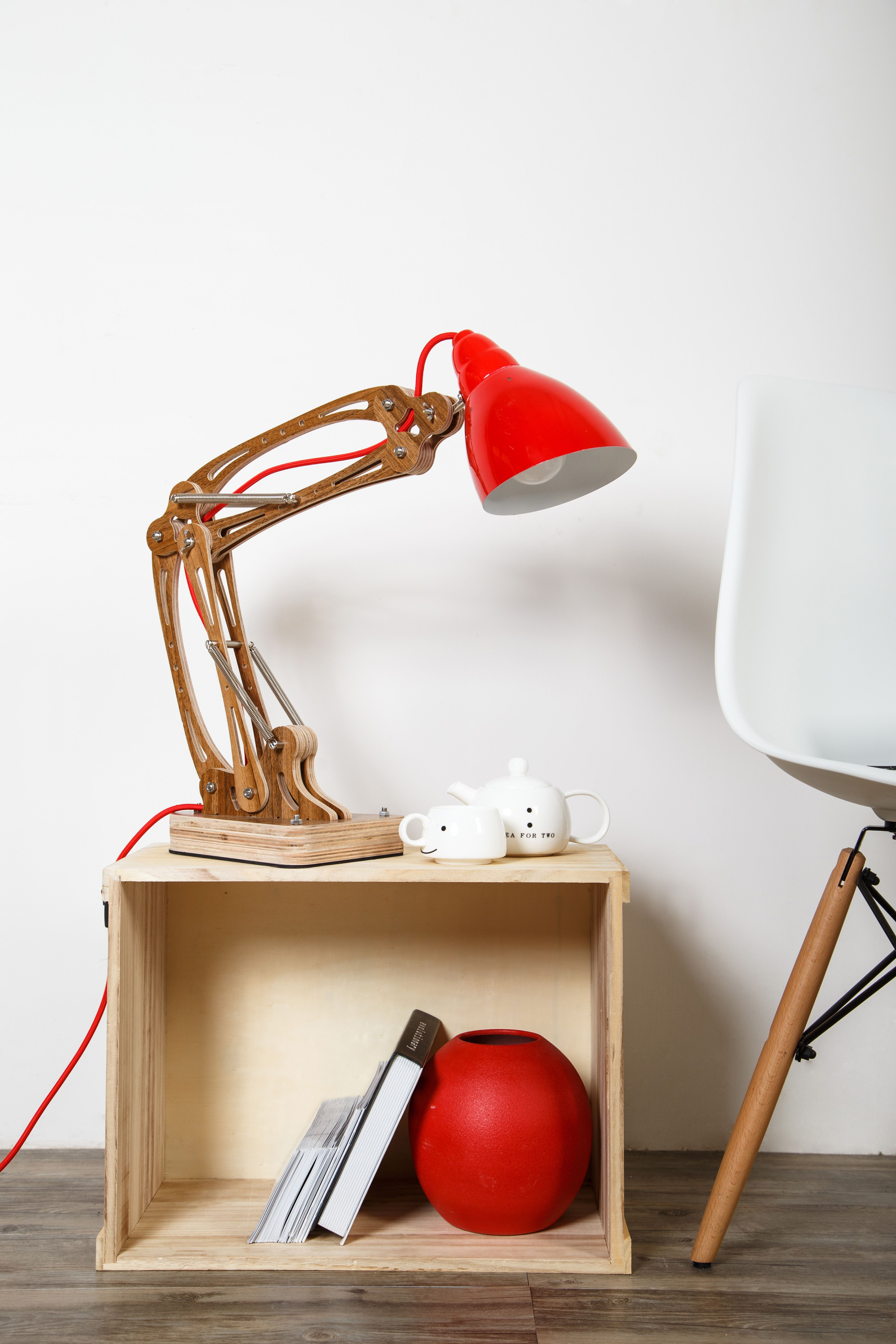 DIY Unique Flexible Arm Table Lamp Rustic Wooden Home