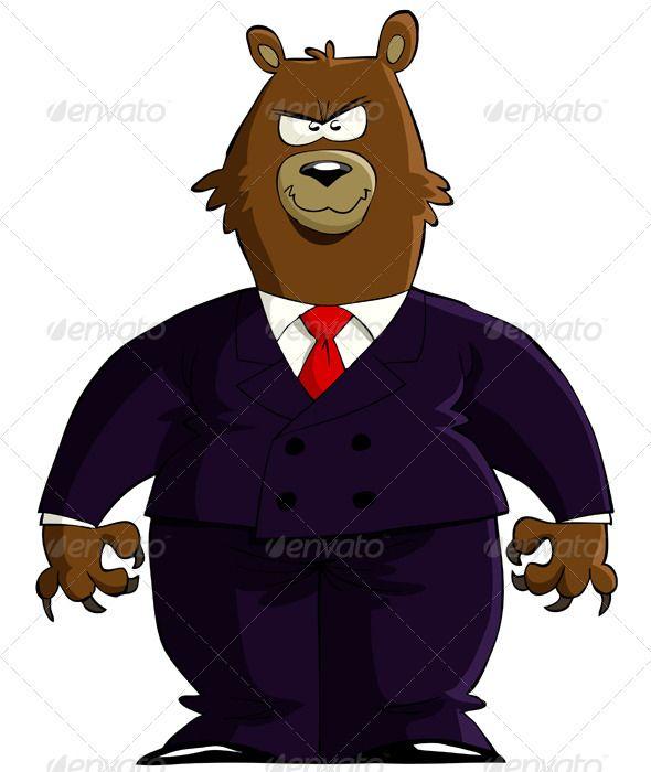 Cartoon Characters In Suits : Bear financier business cartoons and vector design