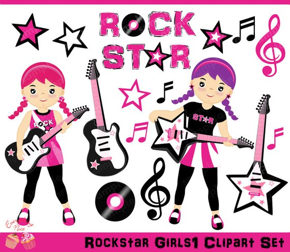 Rockstar Girls Clipart Set Etsy Clip Art Girl Clipart Rockstar