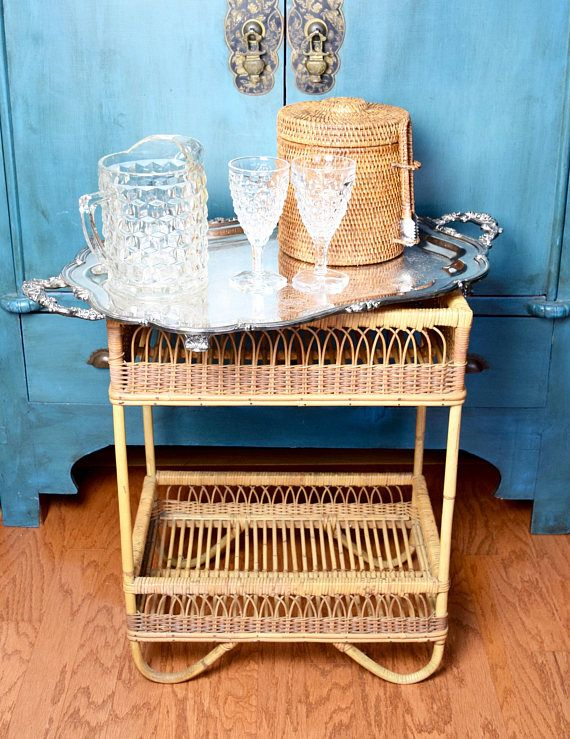 Vintage Wicker Plant Stand Rattan Planter Bar Cart Mid Century Hollywood Regency Love Pinterest And