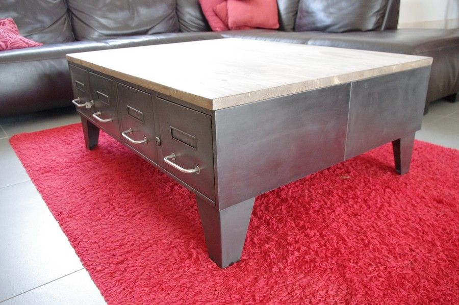 Pin by atelier heure cr ation on cr ation restauration de meuble industriel table basse - Restauration meuble industriel ...
