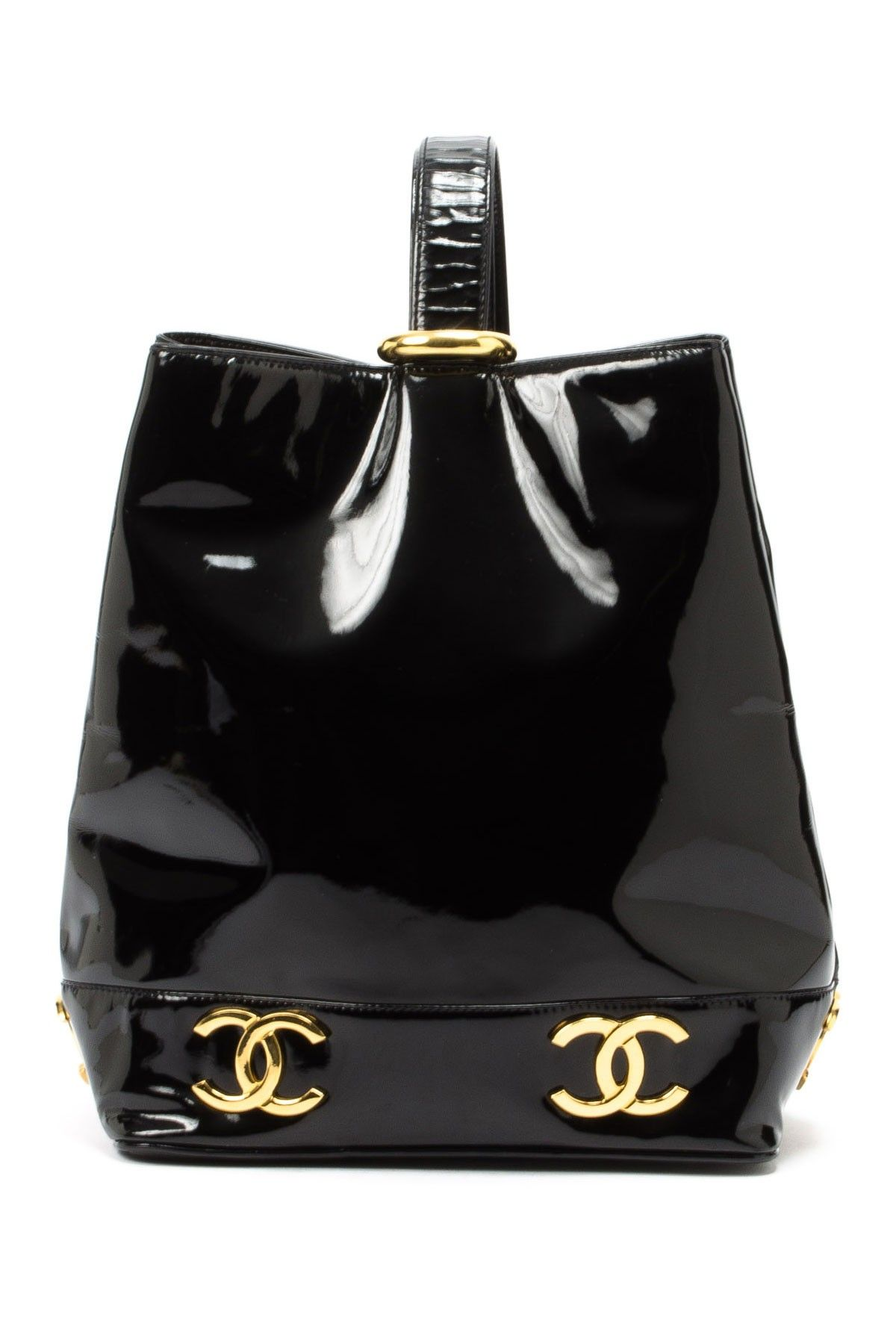 98da63b6db8 Chanel Patent Leather Bag with golden finish .. Winter wonder!