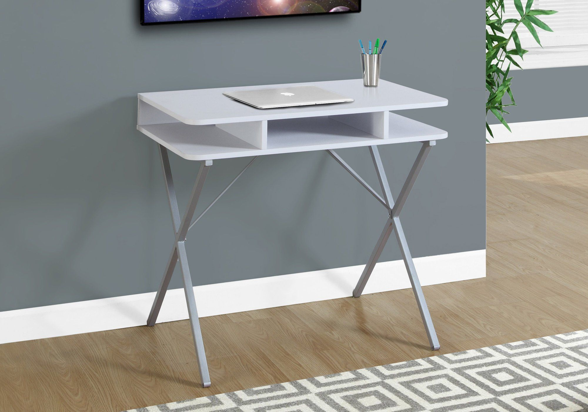 - Monarch Computer Desk, 31', White/Silver >>> Check This Awesome
