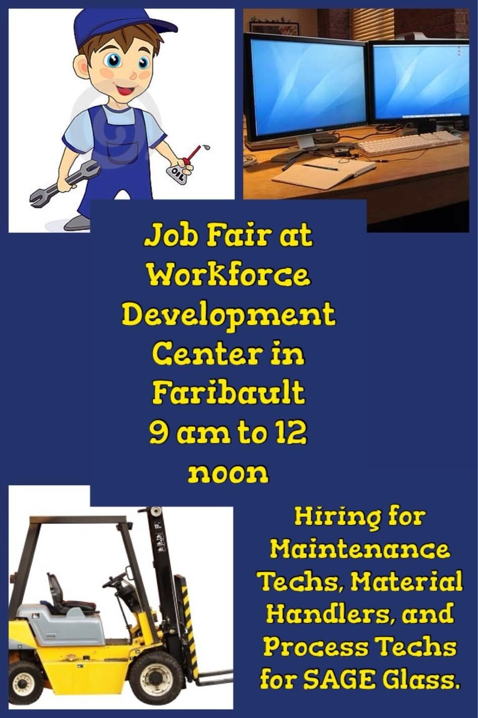 Job fair tomorrow december 17 from 9 am to 12 noon at the