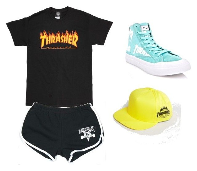 """""""idek I just likes all the thrasher stuff lol"""" by jessmurrayyy ❤ liked on Polyvore featuring HUF"""