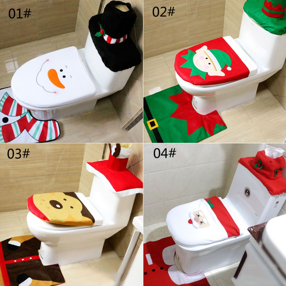 New Hy Santa Toilet Seat Cover And Rug Bathroom Set Christmas Decorations