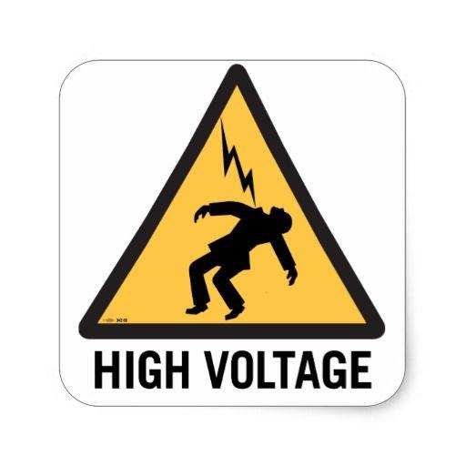 Retro Vintage Kitsch Danger High Voltage Sign Square Sticker Zazzle Com In 2020 High Voltage Vintage Kitsch Fancy Art