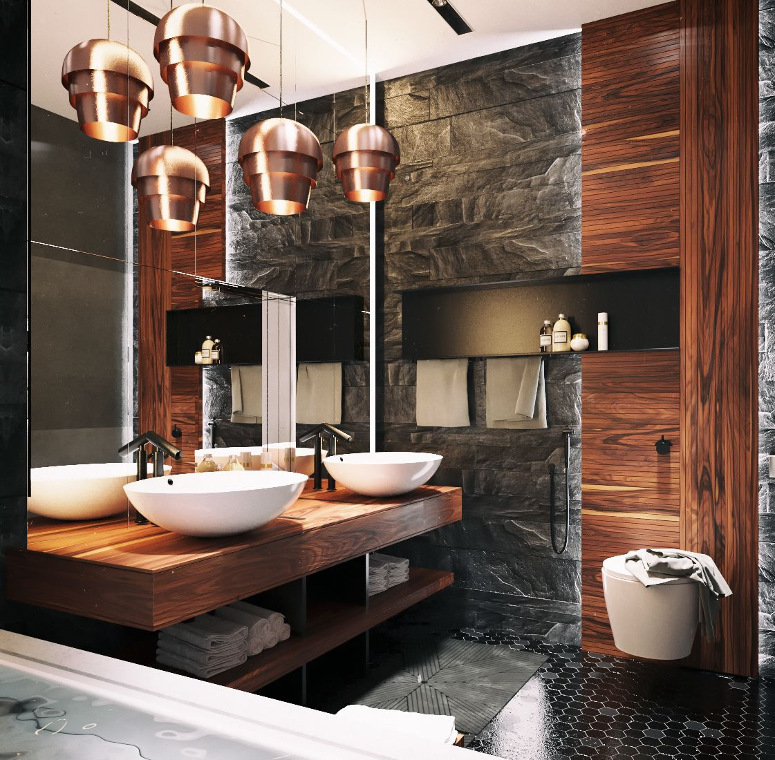 Applying Modern Bathroom Decor with Creative and Perfect