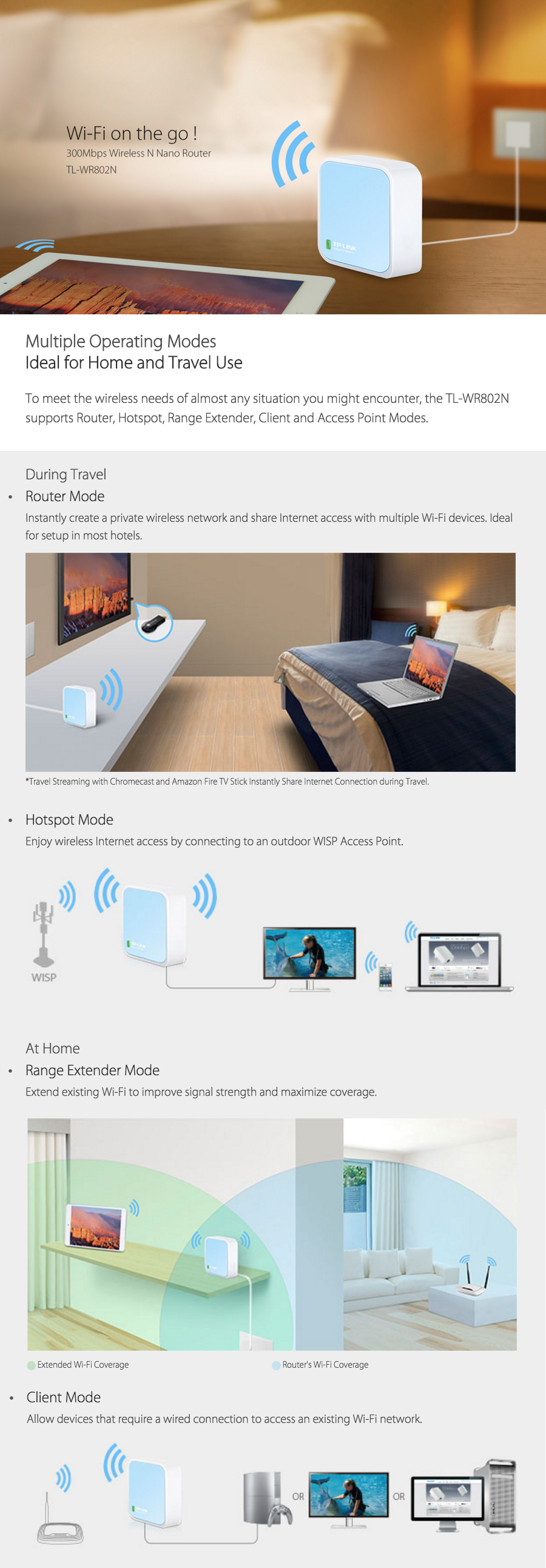 TP-LINK TL-WR802N 300Mbps Wireless Travel Nano Router/Repeater | DHAUSE