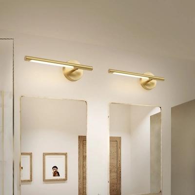 Mid Century Modern Linear Wall Sconce Metallic Led Bathroom Vanity Lighting In Gold Modern Vanity Lighting Modern Bathroom Vanity Lighting Bathroom Vanity Lighting