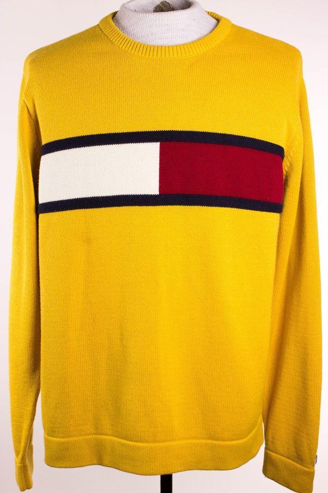 Details about Vintage 90s Tommy Hilfiger Mens Yellow Crew Neck Sweater Flag Logo Size L Large