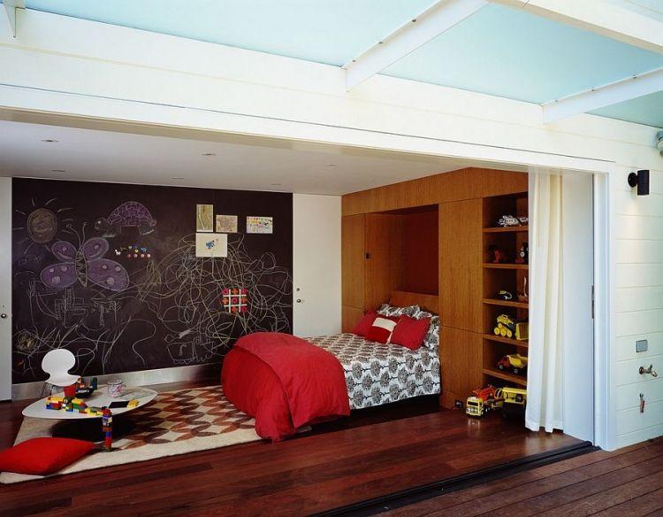 couleur chambre ado peinture ardoise tapis graphique et sol en parquet massif couleur. Black Bedroom Furniture Sets. Home Design Ideas