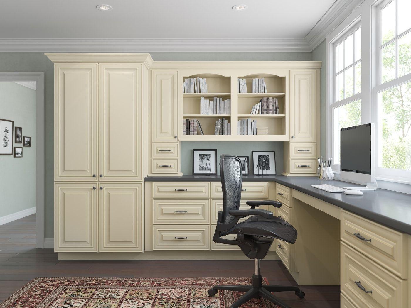French Vanilla Glaze Ready To Assemble Office Cabinetry Office Cabinetry All Home Cabinetry Home Office Cabinets Office Cabinet Design Home Office Design