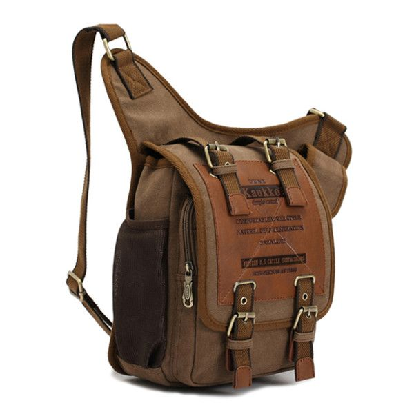 KAUKKO Men Retro Canvas Travel Shoulder Chest Messenger Bag ...