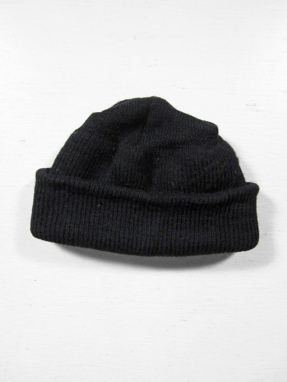 c6055e36765 Vintage US Navy Watch Cap Knit Hat Black Wool Military Winter Sailor Beanie