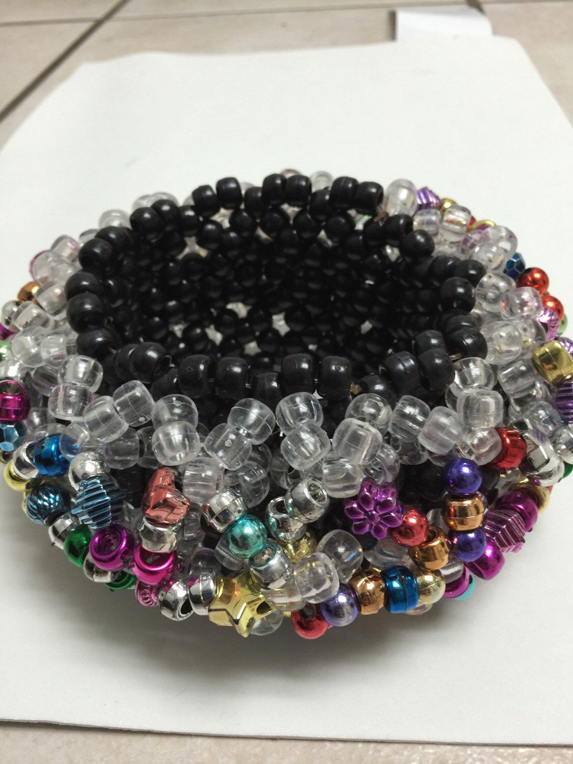 A personal favorite from my Etsy shop https://www.etsy.com/listing/286655931/metallic-and-black-kandi-cuff