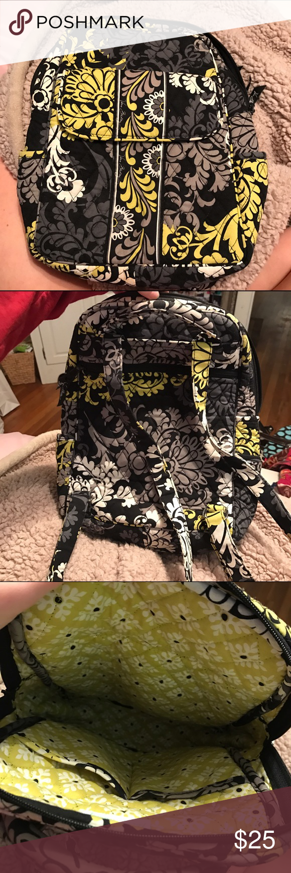 Small Vera Bradley Backpack And Lunch Box Black White Grey