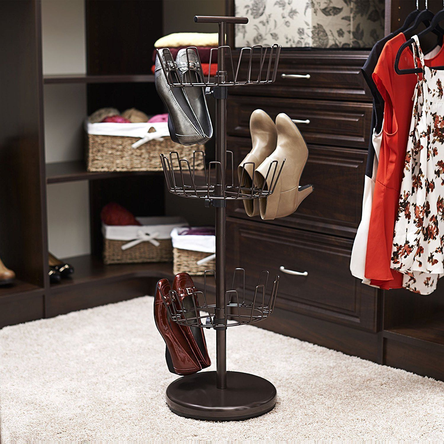 pair free standing rotating shoe rack boot heel storage display