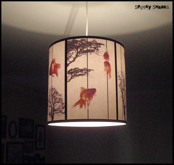 Fish Carousel Pendant Lamp Shade Lampshade Lighting Goldfish Zen Decor Drum Lamp Shade Black Trees White Pendant Light Unique Lamp Decoration Lamp Floor Lamp