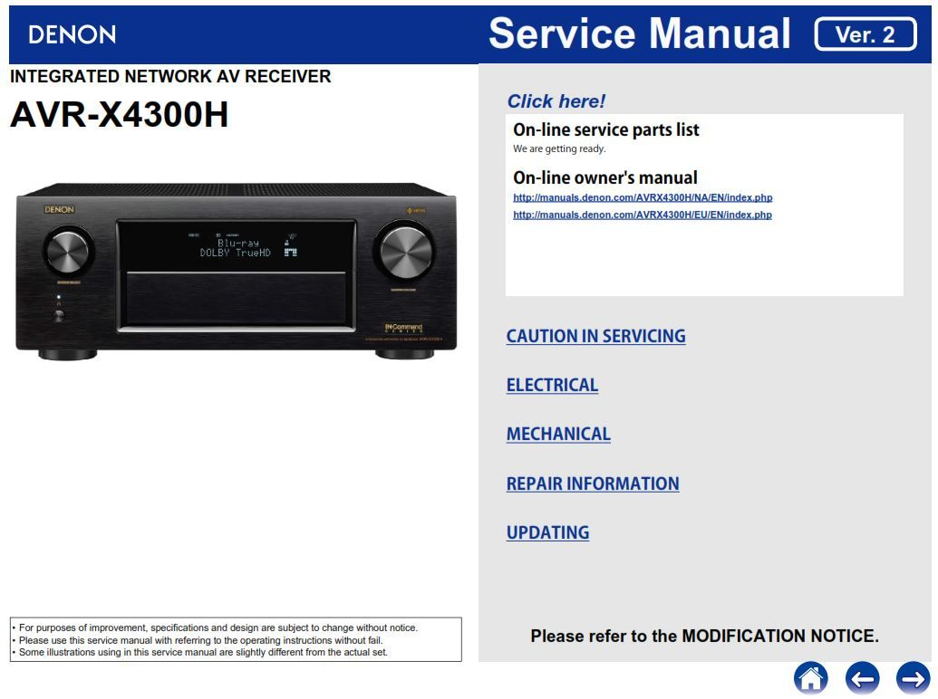 Denon AVR X4300H A/V receiver Service Manual | Denon Audio