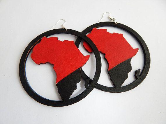Africa Earrings Large Motherland Africa Map Earrings Jewelry Wood