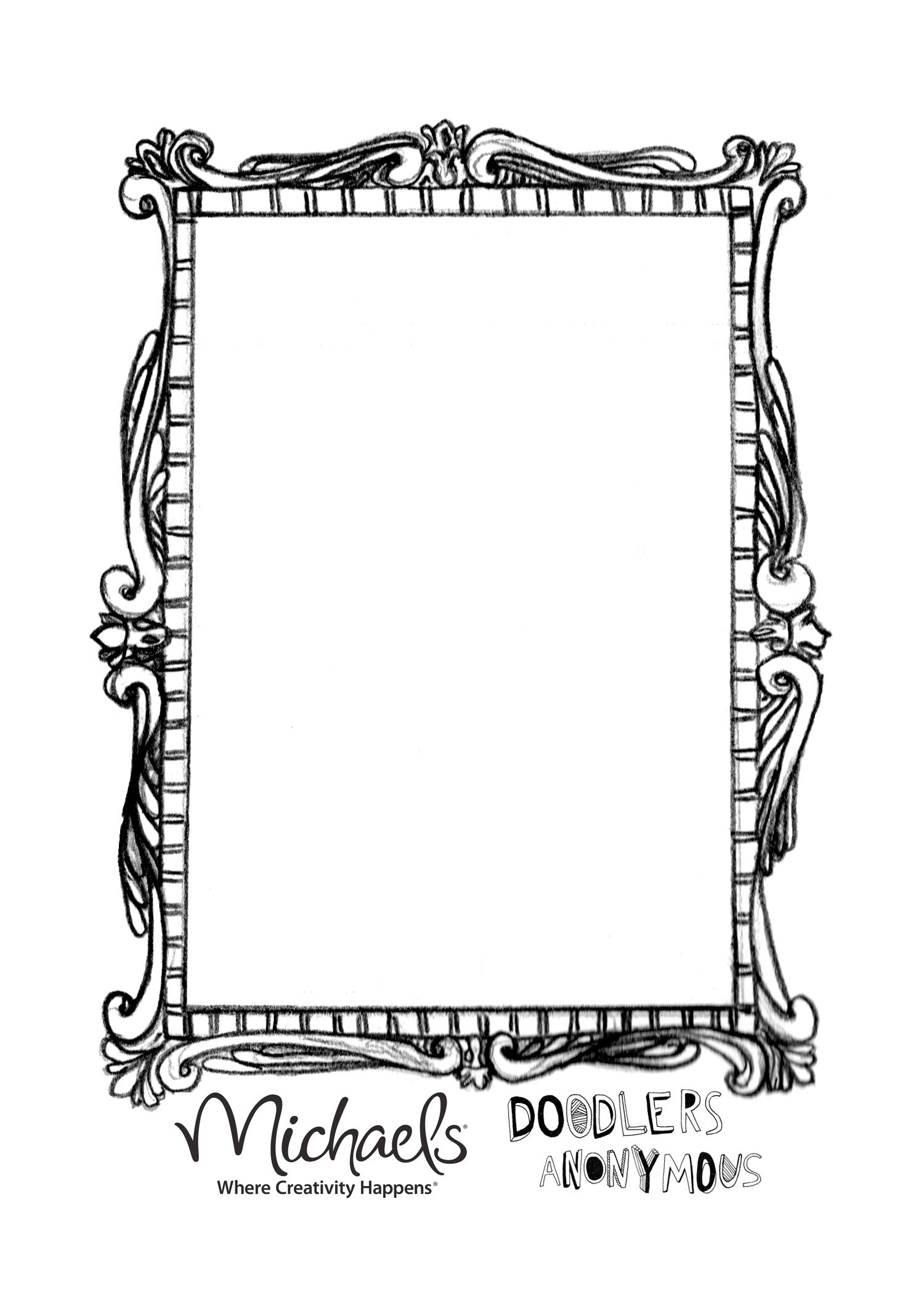 Da Mirror Template 1500x2104 Pixels Line Art Journaling