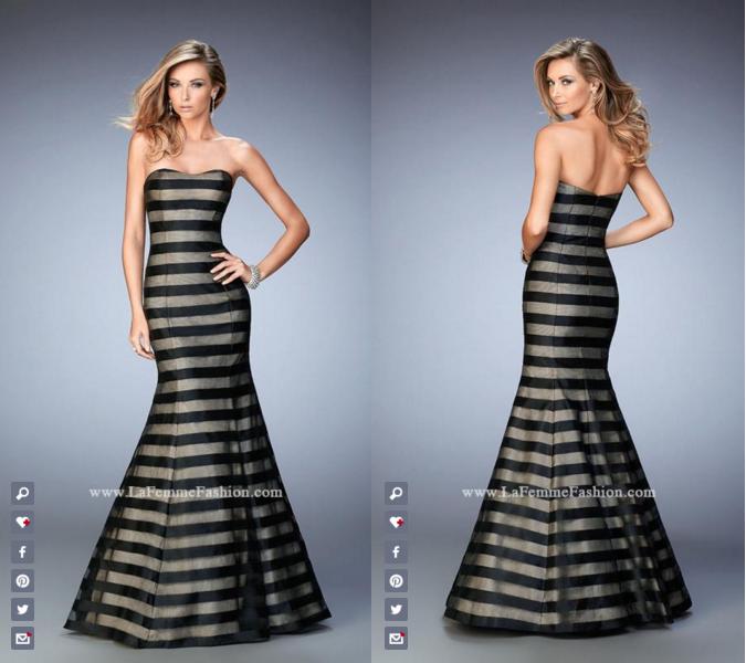 La Femme Prom style - 22118 long prom dress - striped prom dress - formal dress - mermaid dress - scoop neckline - unique dress - strapless dress
