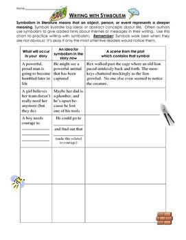 writing with symbolism lesson and practice worksheet page middle school lit worksheets. Black Bedroom Furniture Sets. Home Design Ideas
