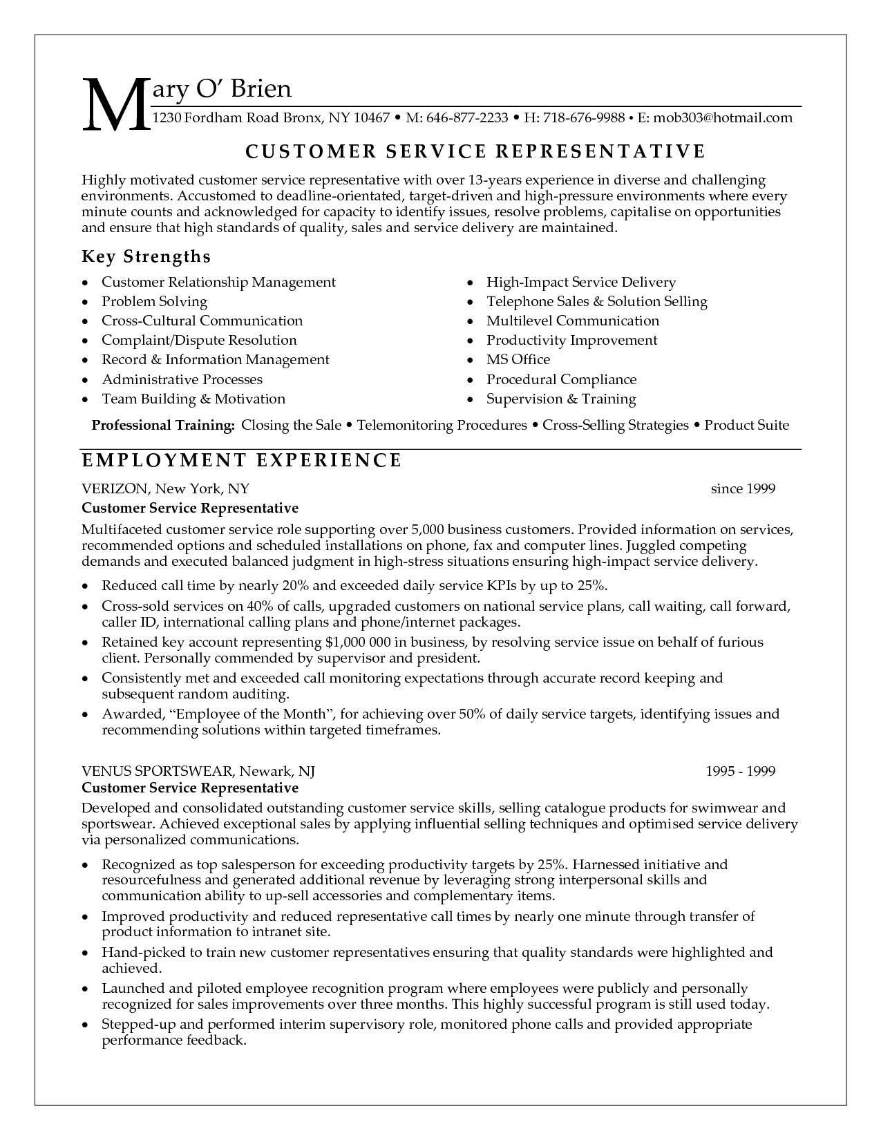 resume for customer service representative httpwwwresumecareerinfo