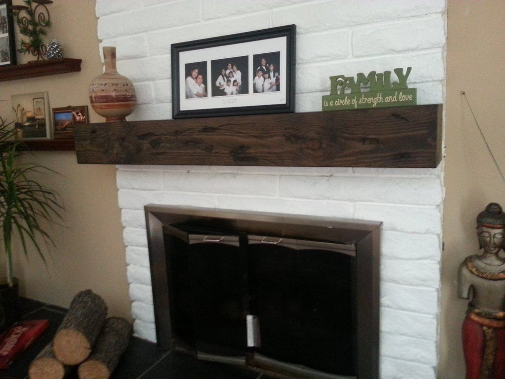 Fireplace rustic reclaimed look mantel beam