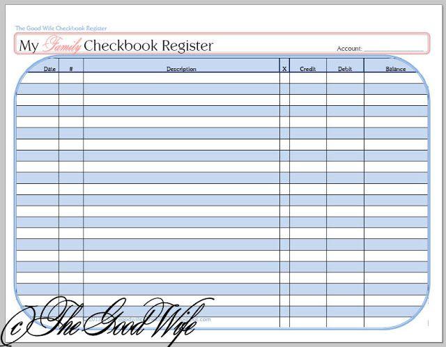 The Good Wife New Budget Worksheet - Checkbook Registers - printable bank ledger
