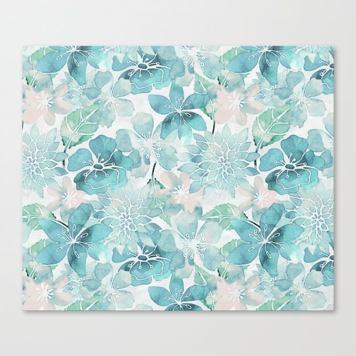 Lovely Watercolor Flower Pattern In Fresh Shades Of Turquoise And